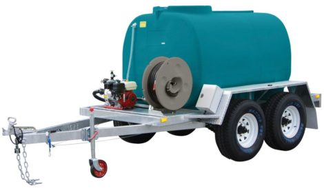 Firefighting trailer for carting water dual axle with fire pump