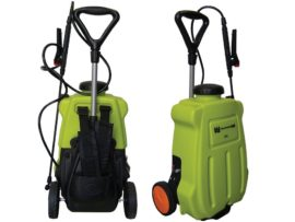Rechargeable battery sprayer with trolley