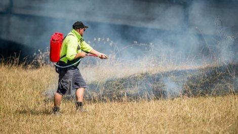 Rega fire fighting knapsack being used for spot sprayer