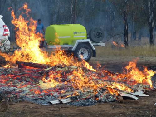 TTI Firefighting Trailer defending bushfire in Australia